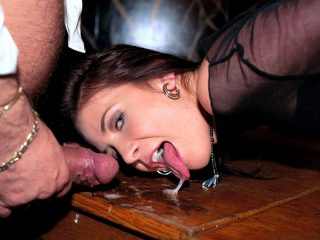 Horny Waitress Thalia Screws Two Customers and the Boss