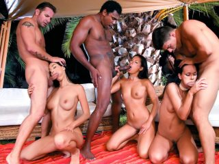 Night Time Interracial DP Orgy with Lara Stevens, Suzie Diamond and Vanessa May