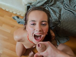 Brunette teen gets a hot load on her pretty face!