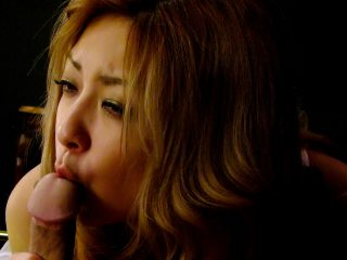 Blonde Asian in lingerie gives him a sensual blowjob