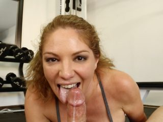 Kiki stretches in yoga then stretches her mouth around the dick