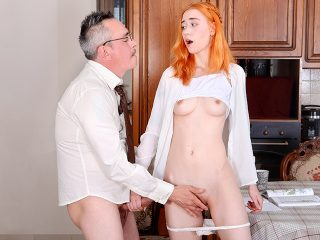 Grey-haired teacher gives his lazy ginger student a special lesson