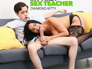 Diamond Kitty fucks student to keep his mouth shit