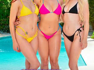 390x590c 9 320x240 - Co-ed babes April Snow, Lilly Bell, and Skylar Snow, enjoy their Summer Vacation riding cock at the pool