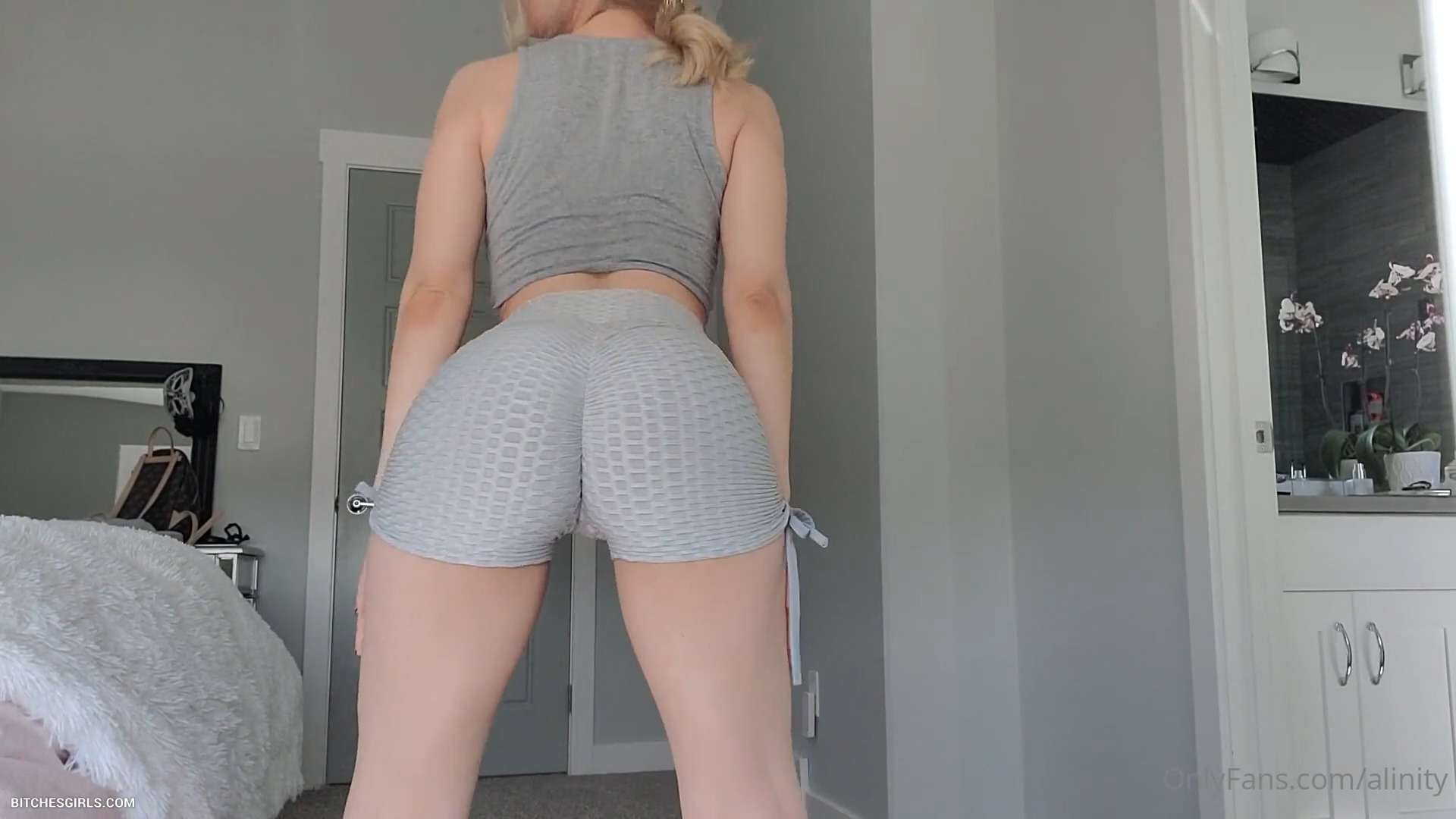 Alinity perfect ass in shorts doing squats - Alinity Nude OnlyFans Sensual Tits In Shower